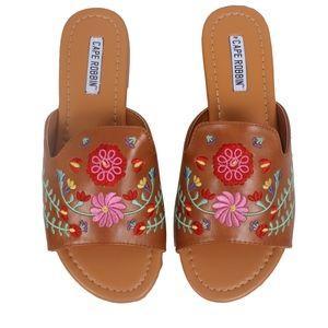 Camel Flower Embroidered Open Toe Slip On Sandal